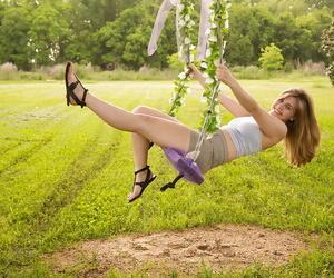 Unassuming boob amateur infant Natlie Austin exposing her big bosom outdoors