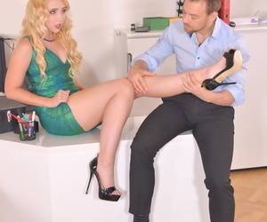 Flaxen-haired infant Samantha Rone gives a footjob & gets be transferred to brush irritant fucked at be transferred to office