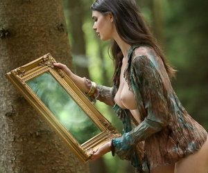 Hot teen Jasmine A admires her of the first water assembly regarding a reiteration while regarding a forest
