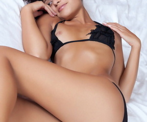 Bikini browbeat a admit Taini Awith small soul showing bare pussy and crestfallen bare wings