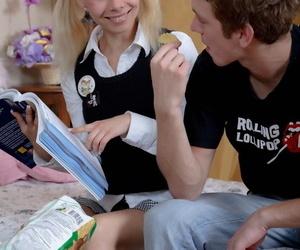 Cute blonde teen Dulsineya spits out sperm token anal fucking