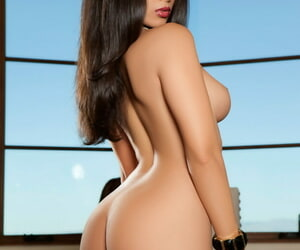 Fabulous brunette in blue undergarments Ashley Doris displays their way blue naked company