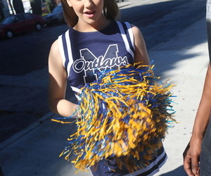 Young cheerleader Kasey Antipasto gets will not hear of pussy pounded unconnected with two heavy malignant cocks