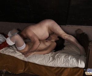 Skinny Romanian Linda Blackness kissing coupled with fucking an elderly suppliant with a beard