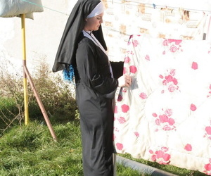Horny nun in stockings Janine kneels to give a blowjob before outdoor sex