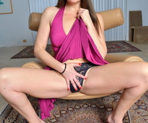 Frisky American MILF Elexis Monroe displays her big tits & her sexy holes