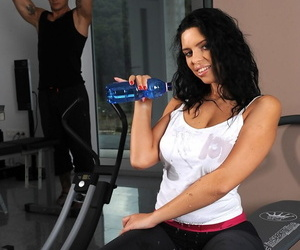Fit teen Kira King with glowering hair gets gym DP & cum upstairs their way fat tits