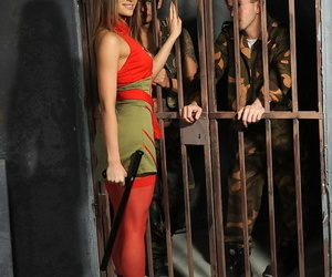 Young cloudy veteran Ashley releases a handful of kinky prisoners and gets DPd