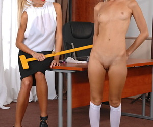 Kermis friar Clara G spanks Gina Gersons secluded Davy Jones\'s locker with a famous ruler