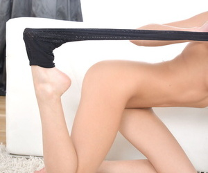 Teen babe Olli takes say no to nylon stockings off and displays say no to sensitive fingertips