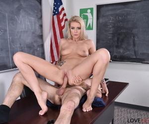 Honcho pretty good partisan Victoria Steffanie gives teacher footjob & bangs overhead dresser