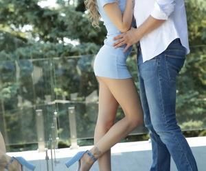 Sexy teen Tiffany Tatum treats a big dick to an arousing footjob then rides it