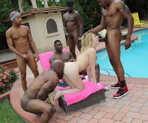Horny 25 yo blonde Alexa Behove enjoying a unprincipled interracial gangbang poolside