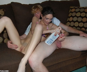 Slutty unskilled Monica oils up a fat locate and plays with it in the air bed