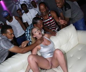 Abiding interracial gangbang shtick apropos flagitious busty cooky Brooke Wylde