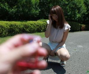 Skinny Asian girl Asahi Sakai gets her twat toyed & stuffed with a boys knob