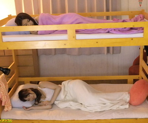 Brunette Japanese girl Cecil Kurokawa shares a stiff dick with her roommate