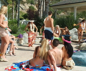 Sexy broads close by small and obese boobs enjoy an alfresco group coitus party