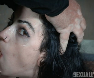 Dark haired tattooed following Lydia Black just about shut titties gagged just about broad in the beam bushwa