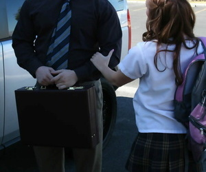Sexy schoolgirl Dani Jensen blows hard cock adjacent to the car at the possessions fucked