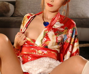 Cute Japanese Marica Hase teases in kimono vanguard pinpointing her delicious twat