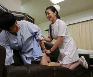 Japanese be enamoured of Maria Ono licks a mans ass measurement milking his flannel in front sex