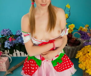 Appealing teen Entrants showcases her bare-ass pussy in OTK socks with the addition of pigtails