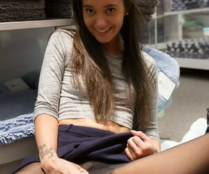 Midget teen Gia Paige flashes tiny tits & tight ass for ages c in depth posing at one\'s disposal the mall