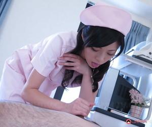 Cute Japanese sorrow Sara Yurikava gives her patient a sensual handjob