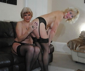 Older blonde women spank bare asses during lesbian play in stockings