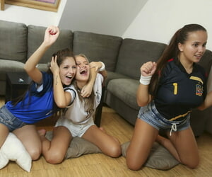 One accidental guy fucking three socer teen girls - affixing 2946