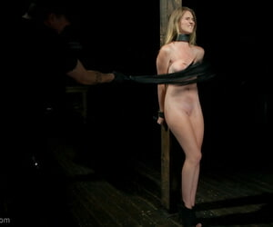 Ashley begins shackled helter-skelter a wooden column. will not hear of throat and wrists are locked everywhere - part 1502