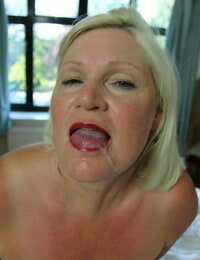 Granny Lacey Starr having a wild FFM three way with a black duo