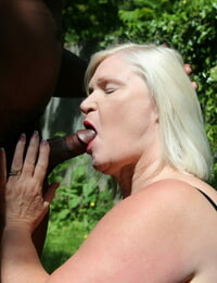 British granny Lacey Starr loving outdoor interracial hookup with a black stud