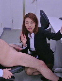 Asian stunner Mai Takizawa kneels and gives head to her playmate at work