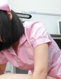 Stable Asian nurse Yui Nozomi gets on all fours and gives head on the floor