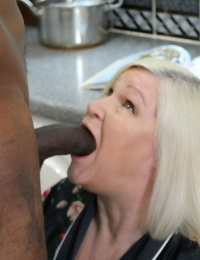 Sexy ash-blonde granny Lacey Starr gets seduced and screwed by a black handyman