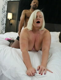 BBW granny Lacey Starr enjoying a doggystyle multiracial nailing in blossom