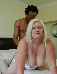 Lusty granny Lacey Starr gets jism blasted after sucking & pounding a Big black cock