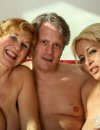 Wild granny with big tits and an extraordinaire looking ash-blonde share a hard cock