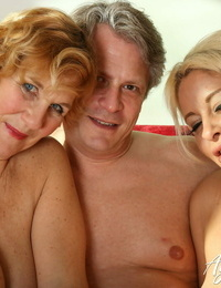 Messy mature Molly and blonde Mummy Kelly Cummins share a stiff dick