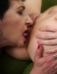 Lucette Tongues getting into some lesbian one on one action with granny
