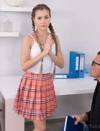 Young looking schoolgirl Mary Rock is tricked into sex by her older teacher