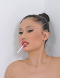 Promiscuous Asian in pantyhose Rita Akira getting her asshole humped hard