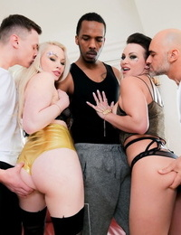 2 sluts get dual screwed during gang lovemaking with thick black and white dicks