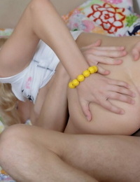 Youthful looking girl Kenzie takes an open mouth jizz shot after deep anal screwing