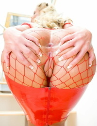Light-haired MILF hotty Phoenix Marie gets her fat nuts pounded in crimson fishnet