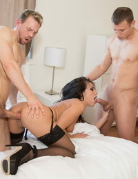 Brunette pornographic star Adriana Chechik takes jizz shots after a hardcore DP