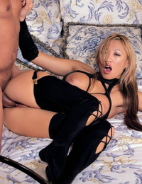 Hot Asian Mummy Miko Lee takes part in hard-core hook-up in sexy black tights