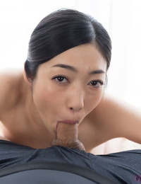 Japanese D/s gobbles a hard cock and gets a geyser of hot cum on her rosy tongue